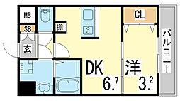JR東海道・山陽本線 新長田駅 徒歩3分の賃貸マンション 7階1DKの間取り