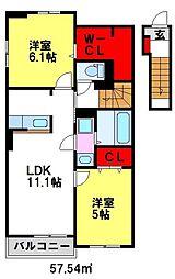 佐賀県鳥栖市轟木町の賃貸アパートの間取り