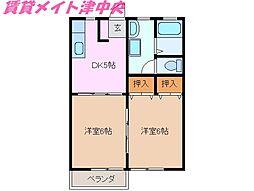 三重県津市久居小野辺町の賃貸アパートの間取り
