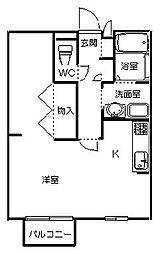 茨城県ひたちなか市外野1丁目の賃貸アパートの間取り