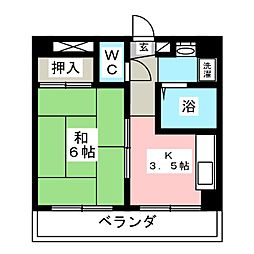 クレセール八本松[5階]の間取り