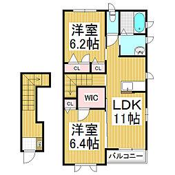 メゾンドソレイユ A棟[2階]の間取り