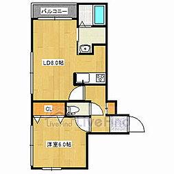 札幌市営東西線 菊水駅 徒歩1分の賃貸マンション 2階1LDKの間取り