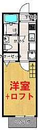 京急本線 南太田駅 徒歩7分の賃貸アパート 2階1Kの間取り