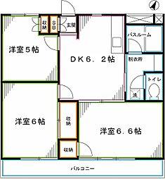 JR中央本線 国立駅 徒歩15分の賃貸マンション 3階3DKの間取り