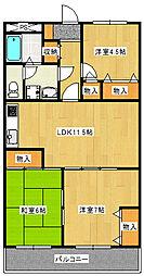 サンワマンションA棟[5階]の間取り