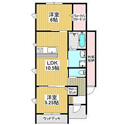 仮)みどりの東新築B 1階2LDKの間取り