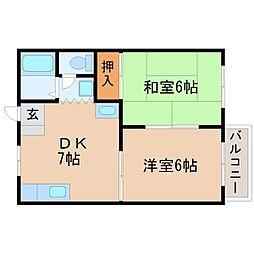 第2岡田ハイツ[1階]の間取り