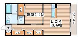 仙台市営南北線 北四番丁駅 徒歩20分の賃貸アパート 3階1LDKの間取り