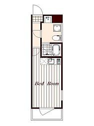 西武新宿線 武蔵関駅 徒歩2分の賃貸マンション 2階ワンルームの間取り