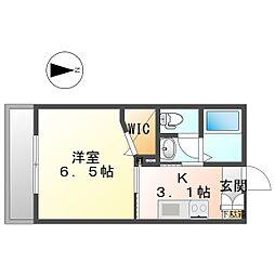 マストライフ川崎平間B棟 1階1Kの間取り