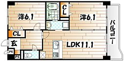 ニューシティアパートメンツ南小倉I[2階]の間取り