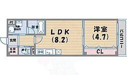 ビーグラン西宮北口2 3階1LDKの間取り