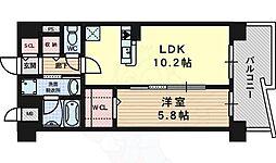 阪急京都本線 上牧駅 徒歩4分の賃貸マンション 5階1LDKの間取り