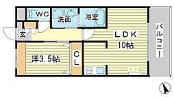 兵庫県姫路市西今宿2丁目の賃貸アパートの間取り