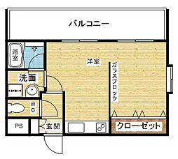 阪急京都本線 上新庄駅 徒歩13分の賃貸マンション 5階ワンルームの間取り