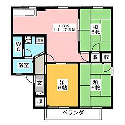 セジュール東山 A棟[2階]の間取り