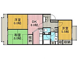 神奈川県大和市深見西8丁目の賃貸マンションの間取り