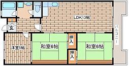 兵庫県神戸市灘区高尾通3丁目の賃貸マンションの間取り