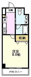 AZALEA恋ヶ窪II 2階1Kの間取り