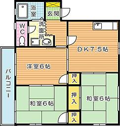 ドエル鴨生田 B棟[1階]の間取り
