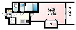 Luxe江坂II 4階1Kの間取り