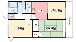 兵庫県西宮市段上町4丁目の賃貸アパートの間取り