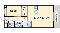 泉北高速鉄道 和泉中央駅 徒歩25分の賃貸アパート 1階1LDKの間取り