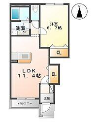 埼玉県久喜市上川崎の賃貸アパートの間取り
