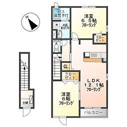 アバンツァーレ 2階2LDKの間取り
