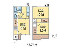千葉県松戸市稔台の賃貸アパートの間取り