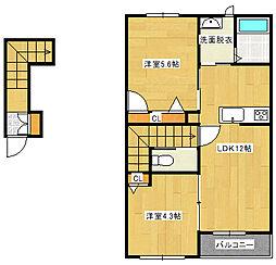 兵庫県加西市北条町西高室の賃貸アパートの間取り