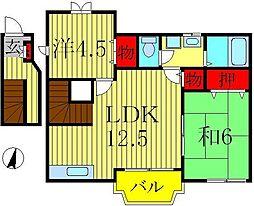 千葉県柏市増尾4丁目の賃貸アパートの間取り