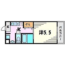 第6カシノハイツ[4階]の間取り