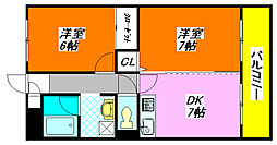 菱屋西・レジデンス 305号室[3階]の間取り
