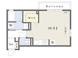 ベルデ リーオ 3階ワンルームの間取り