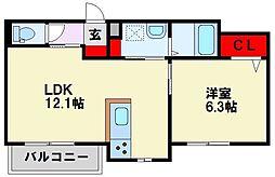 福岡県北九州市八幡西区則松東1丁目の賃貸マンションの間取り