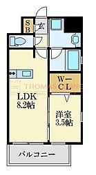 LANDIC K2620 2階1LDKの間取り