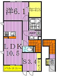 サイドガーデン南増尾 B棟[2階]の間取り