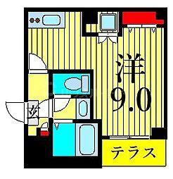 東京メトロ日比谷線 南千住駅 徒歩5分の賃貸マンション 1階ワンルームの間取り