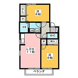ヴェルドミールII[2階]の間取り