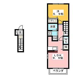 クレメントS.K[1階]の間取り