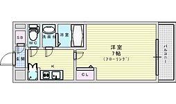 リッツ新大阪 3階1Kの間取り