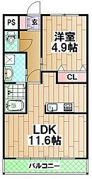 ライツ南曽根 2階1LDKの間取り