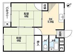 千里七尾マンション[5階]の間取り