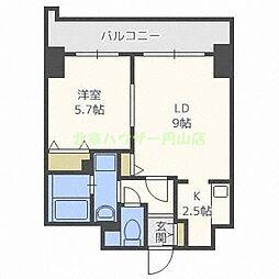ティアラタワー中島倶楽部(I) 4階1LDKの間取り