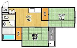 兵庫県西宮市樋ノ口町1丁目の賃貸アパートの間取り