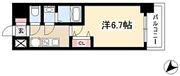 アステリ鶴舞エーナ 2階1Kの間取り