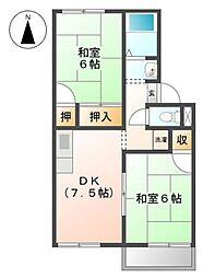 シャンポール下中野A棟[1階]の間取り