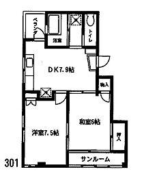 神奈川県横浜市中区扇町2丁目の賃貸マンションの間取り